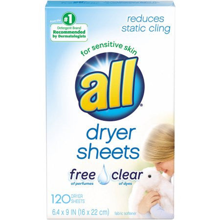 All Free Clear Dryer Sheets for Sensitive Skin, 120 sheets