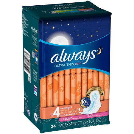 Always Fresh Ultra Thin Flex-Wings Overnight Pads Size 4- 24 CT
