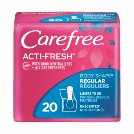 Carefree Acti-Fresh Body Shaped Panty Liners Unscented Regular - 20 Count