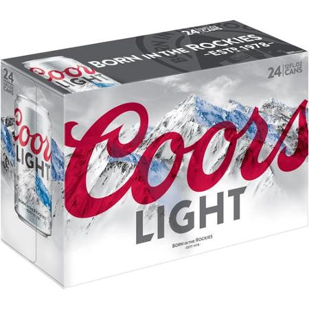 Coors Light Beer, 12 fl oz, 24 pack Cans