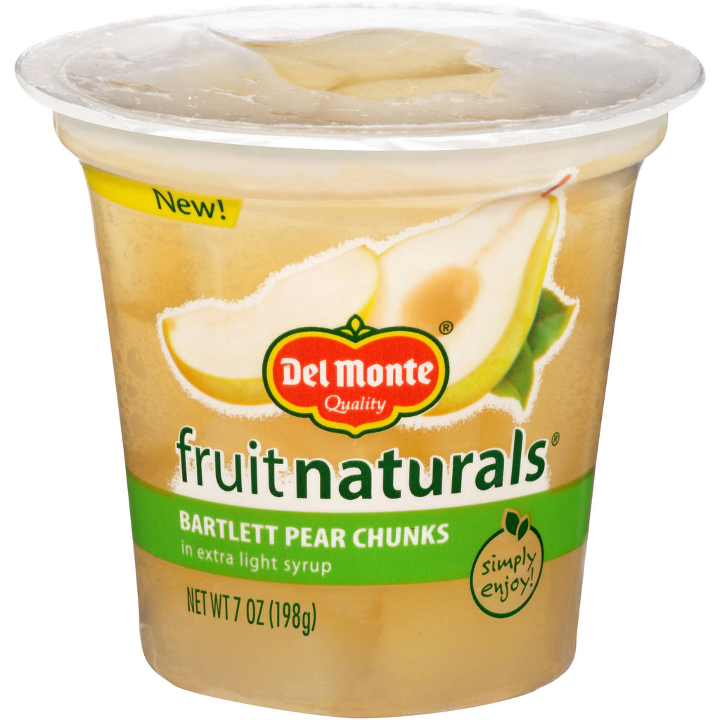 Del Monte Fruit Naturals Bartlett Pear Chunks in Extra Light Syrup, 7 oz