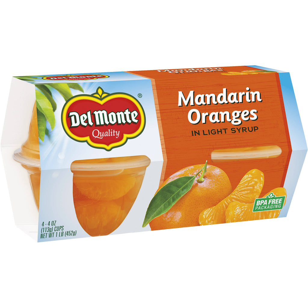 Del Monte Mandarin Oranges in Light Syrup, 4 oz, 4 count