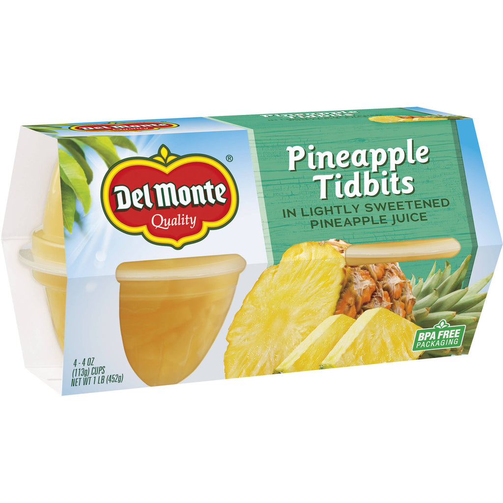 Del Monte Pineapple Tidbits in Lightly Sweetened Pineapple Juice Cups, , 4 oz, 4 count