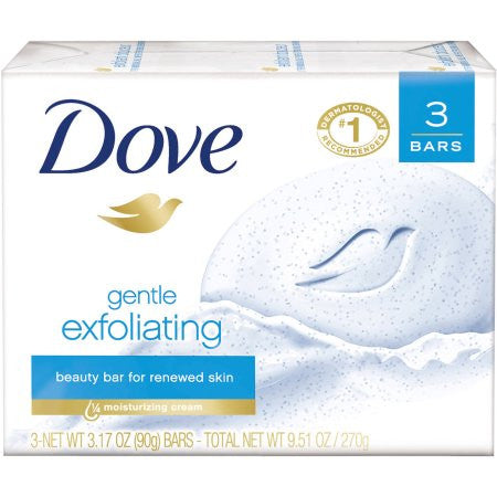 Dove Gentle Exfoliating Beauty Bar, 3.17 oz, 3 Bar