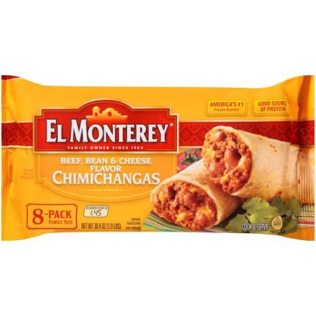 El Monterey Beef, Bean & Cheese Flavor Chimichangas, 8 count, 30.4 oz