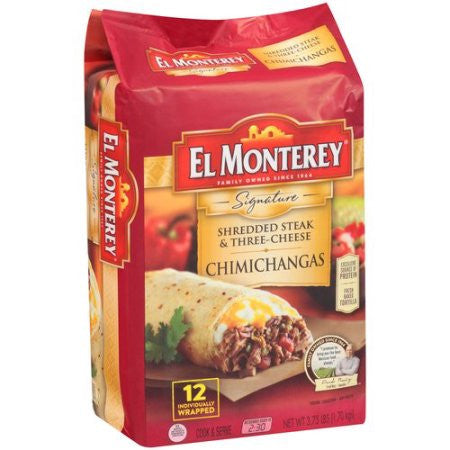 El Monterey Shredded Steak & Three-Cheese Chimichangas, 12 count, 3.75 lbs