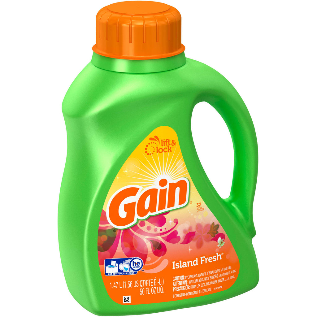 Gain 2X Concentrated Island Fresh Liquid Laundry Detergent, 32 Loads, 50 fl oz