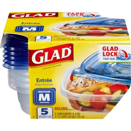Glad Food Storage Containers Entree 25 Ounce 5 Count 999
