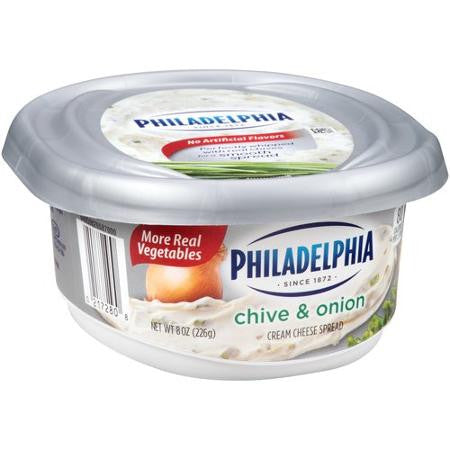Kraft Philadelphia Chive & Onion Cream Cheese Spread, 8 oz