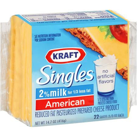 Kraft Singles American 2% Milk 22 ct Cheese Slices, 14.7 oz