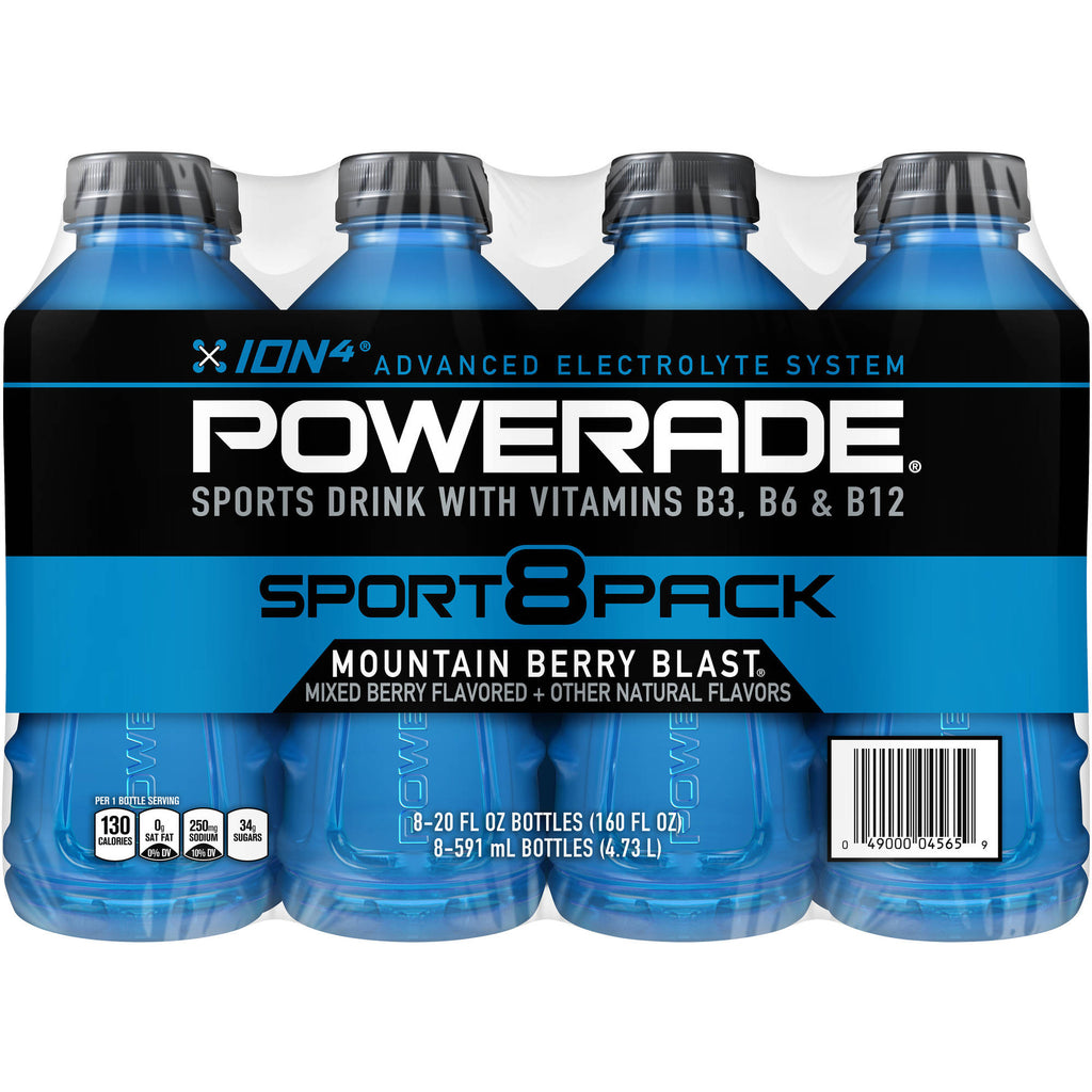 POWERADE Mountain Berry Blast Sports Drink, 20 fl oz, 8 pack
