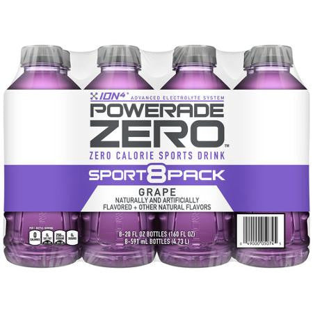 Powerade Zero Grape Sports Drinks, 20 oz, 8pk