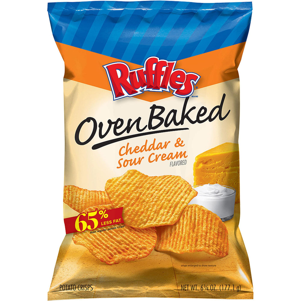 Ruffles Oven Baked Cheddar & Sour Cream Flavored Potato Crisps, 6.25 oz