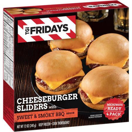 T.G.I. Friday's Cheeseburger Sliders with Sweet & Smoky BBQ Sauce, 4 count, 12 oz