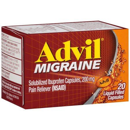 Advil Solubilized Ibuprofen Capsules, 200 mg Pain Reliever (Nsaid) Advil Migraine, 20 ct