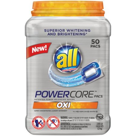 All PowerCore Pacs Oxi Super Concentrated Laundry Detergent, 50 ct, 2.66 lb