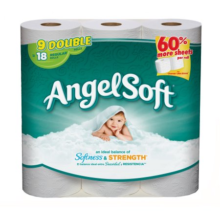 Angel Soft Toilet Paper, 9 Double Rolls = 18