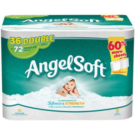Angel Soft Toilet Paper, 36 Double Rolls = 72