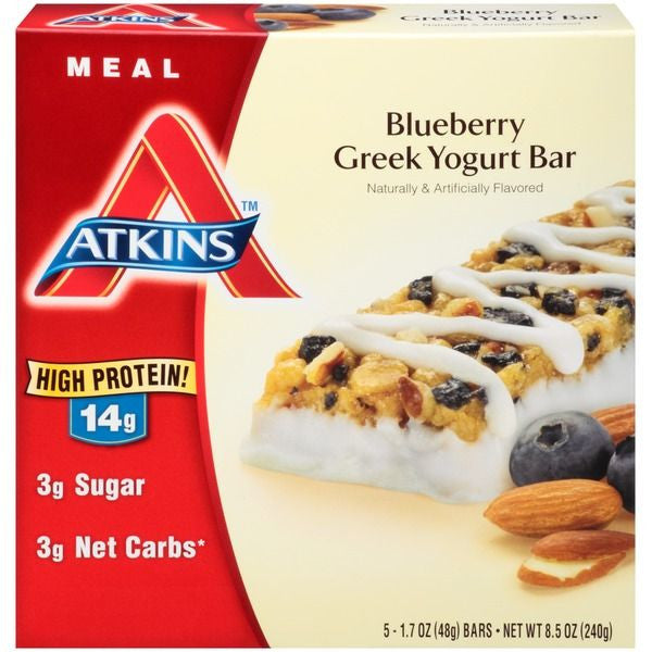 Atkins Blueberry Greek Yogurt Meal Bars, 1.7 oz, 5 ct
