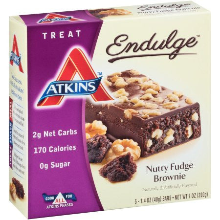 Atkins Endulge Nutty Fudge Brownie Bar, 5 ct