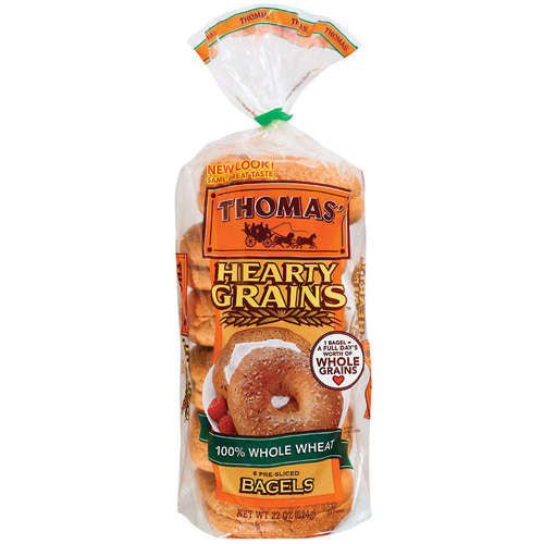 Thomas Hearty Grains 100% Whole Wheat Bagels 6 ct
