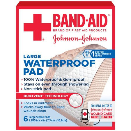 Band-Aid Brand of First Aid Products Waterproof Pads, 2.9 by 4 Inches, 6 Count
