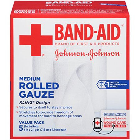 Band-Aid First Aid Covers Kling Medium Rolled Gauze 5 Count Each