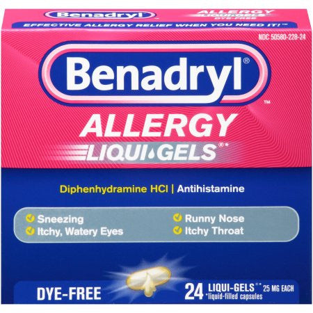 Benadryl Allergy Liqui-Gels Softgels Dye-Free, 24 ct