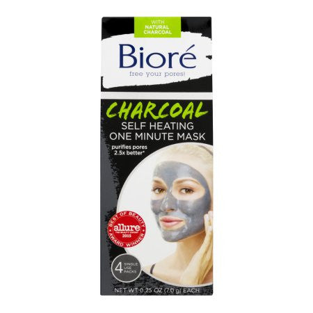 Biore Self Heating One Minute Mask, 0.25 oz, 4 ct