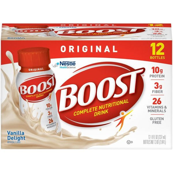 Boost Original Very Vanilla Complete Nutritional Drinks, 8 fl oz, 12 count