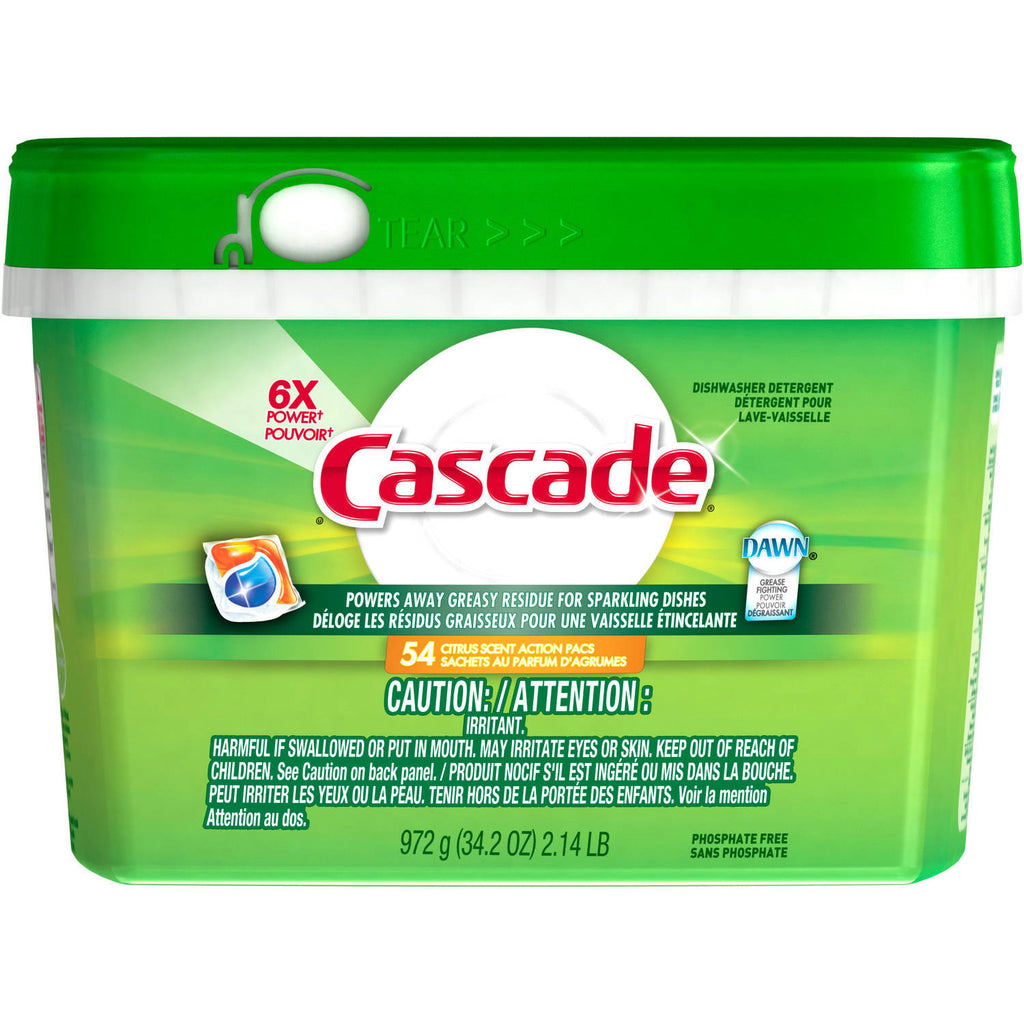 Cascade Actionpacs Fresh Scent Dishwasher Detergent, 54 count, 34.3 oz