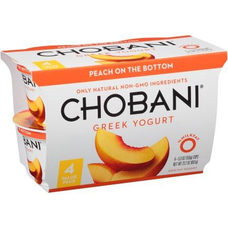 Chobani Peach on the Bottom Non-fat Greek Yogurt, 6 oz, 4 ct