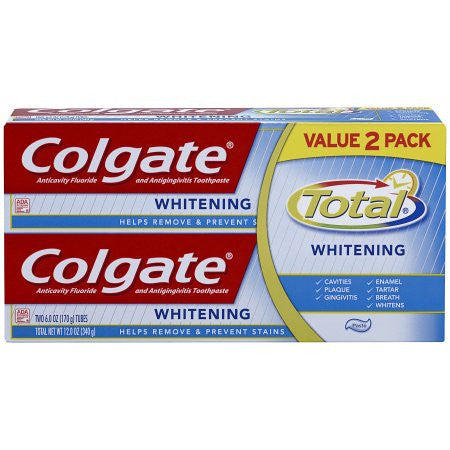 Colgate Total Anticavity Fluoride & Antigingivitis Whitening Toothpaste, 6 oz, 2 ct