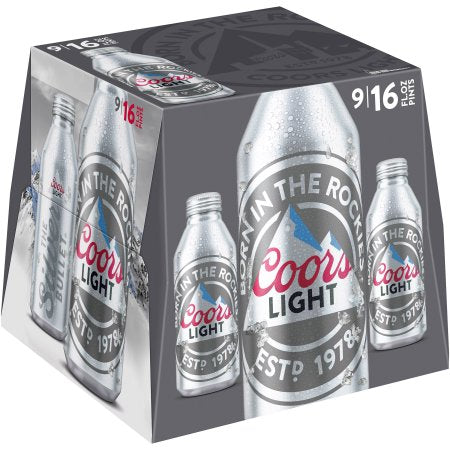 Coors Light Beer, Aluminum 9 pack, 12 fl oz