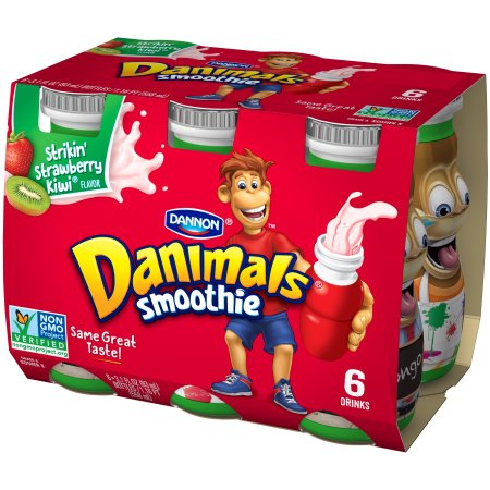 Danimals Strikin' Strawberry-Kiwi 3.1 Fl oz Smoothie, 6 Ct