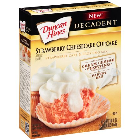 Duncan Hines Decadent Strawberry Cheesecake Cupcake & Frosting Mix, 19.4 oz