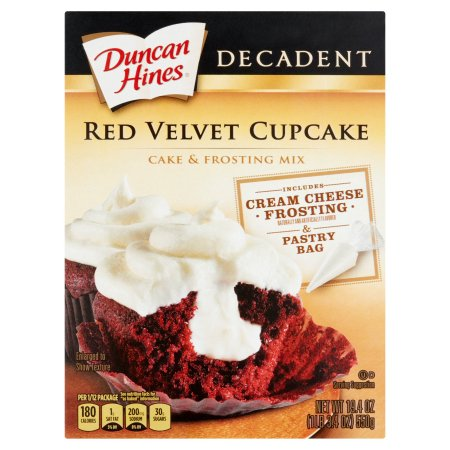 Duncan Hines Decadent Red Velvet Cupcake Cake & Frosting Mix, 19.4 oz