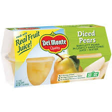 Del Monte Diced Pears In Light Syrup, 4 oz 4pk