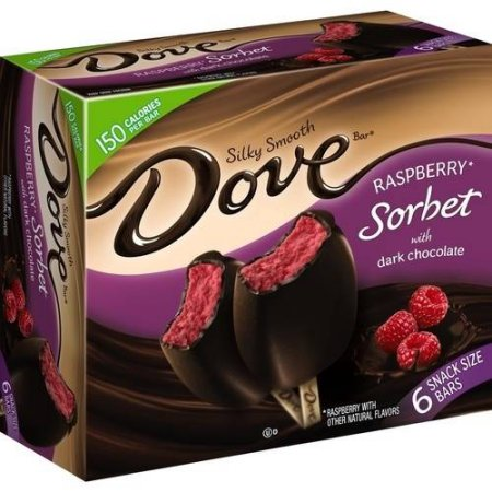 Dove Raspberry Sorbet with Dark Chocolate Bars 6 pk