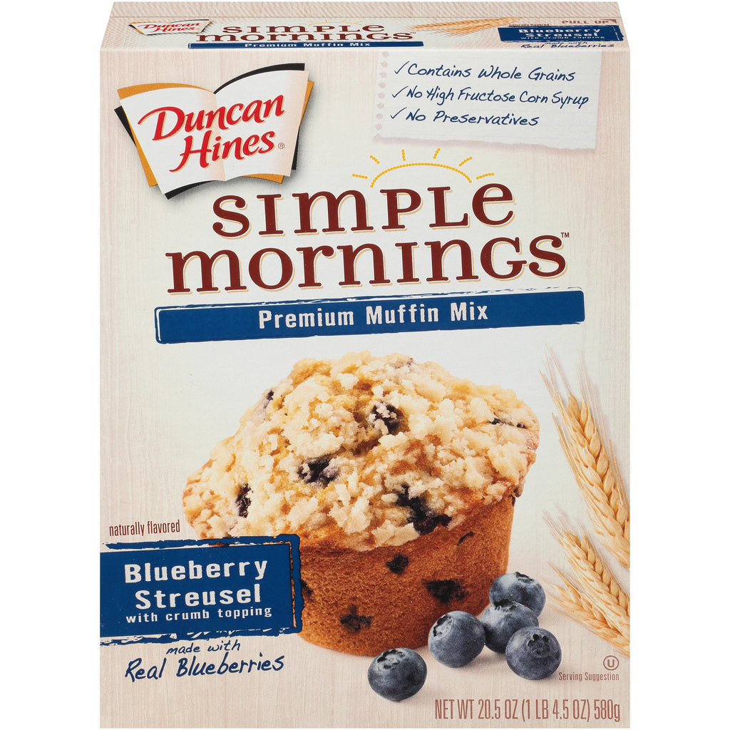 Duncan Hines Simple Mornings Premium Muffin Mix Blueberry Streusel 21.5 oz