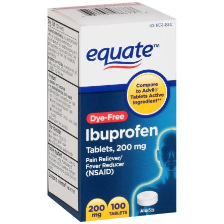 Equate Dye-Free Ibuprofen Tablets, 200 mg, 100 ct