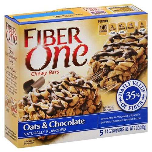 Fiber One Chewy Bars, Oats & Chocolate 5 ct box