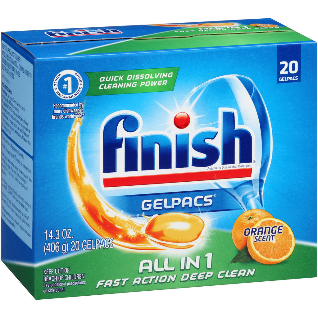 Finish Gelpacs All in 1 Orange Scent Automatic Dishwasher Detergent, 20 count, 14.3 oz