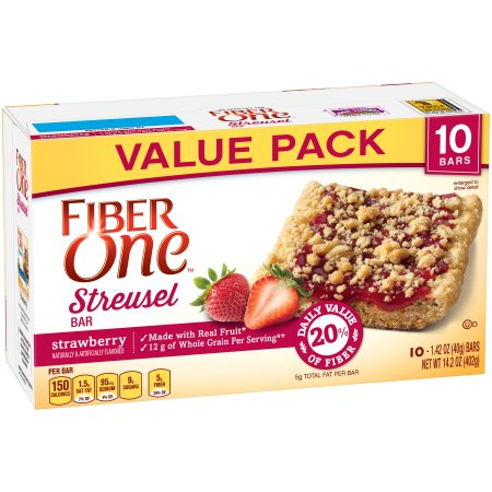 Fiber One Streusel Bar Strawberry Value Pack 10 - 1.42 oz Bars