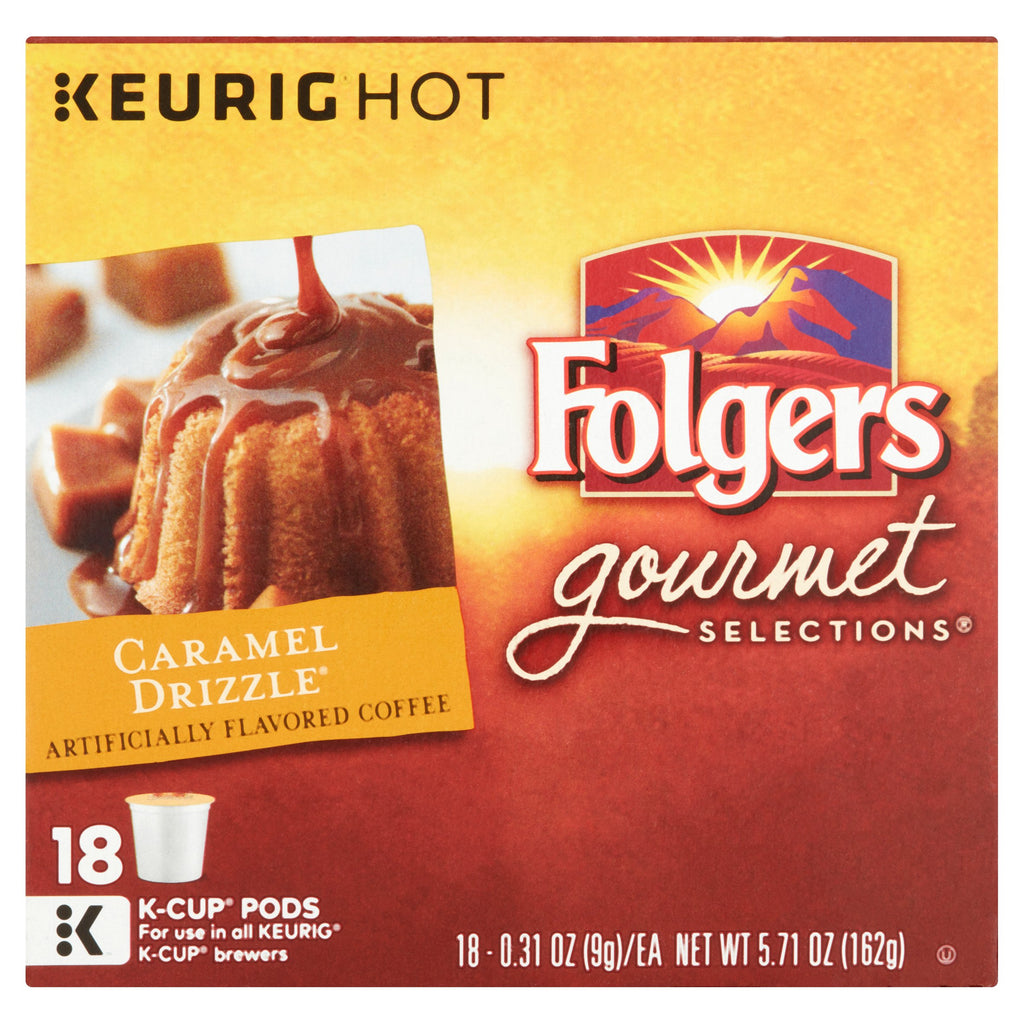 Folgers Gourmet Selections Caramel Drizzle Coffee Podss, 18 pods