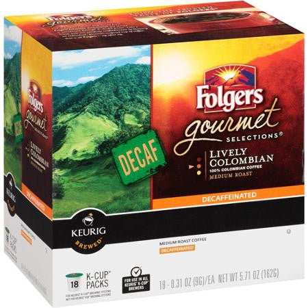 Folgers Gourmet Selections K-Cups Decaf Lively Colombian Medium Roast Coffee, 18 Ct