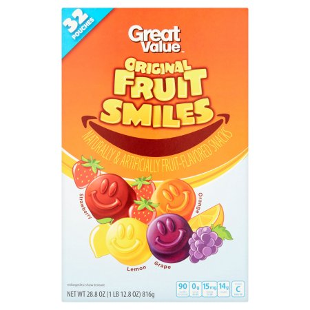 Great Value Fruit Smiles, Originals, 32 count, 28.8 oz