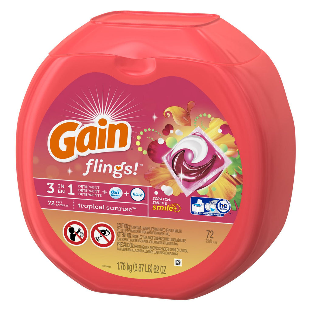 Gain flings! Plus Oxi Boost Plus Febreze Freshness Tropical Sunrise Laundry Detergent, 72 ct, 62 oz