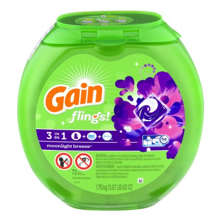 Gain flings! Moonlight Breeze Detergent Pacs, 62 oz, 72 ct