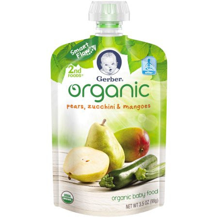 Gerber Organic 2nd Foods Fruit & Veggies Pears, Zucchini & Mangoes, 3.5 oz